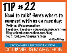 Tip #22: Connect with the Columbus Marathon on RaceDay. #30Tips30Days