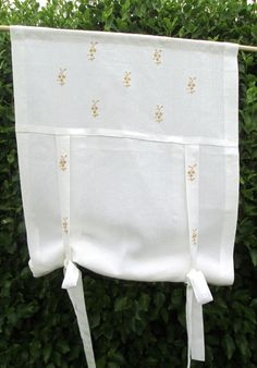 Linen Blind curtain Linen Blind embroideredOAK by linenartisan