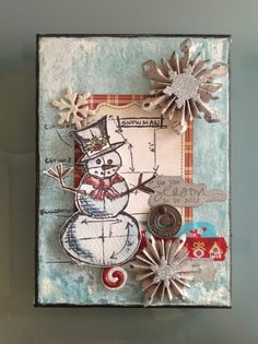 Grungy Holtz Snowman Card...with dimensional snowflakes...Ithaca.