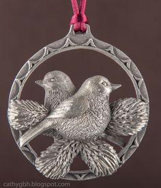 Northern Exposure Pewter Hanging Ornament (Pair of Chickadees) by Norman Fortin. Northern Exposure, Chickadees, Charity Shop, Hanging Ornaments, Flower Basket, Yard Sale, Dried Flowers, Norman, Pewter