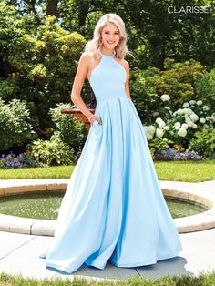 51678bd80be 3486 - Powder blue ball gown prom dress with a strap detailed back and  halter top