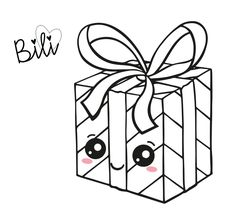 Christmas Gift Box, Christmas Presents, Christmas Present Drawing, Diy Cards Tutorial, Cute Presents, Kawaii, Cute Drawings, Coloring Pages, Baby Shower