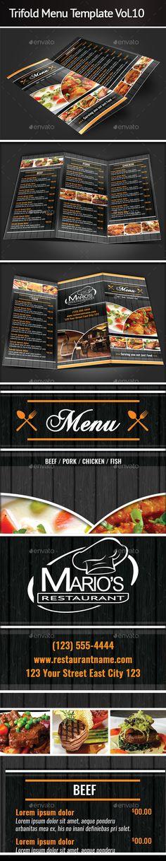 Trifold Restaurant Menu Template Vol   Restaurant Menu Template