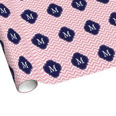 Pink & Blue Zigzags Pattern Monogram Gift Wrap