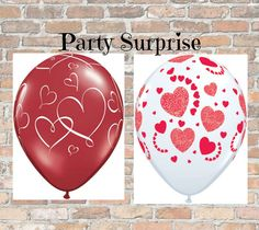 Heart Balloons Valentine Hearts Red and White by PartySurprise