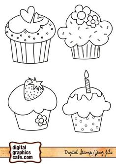 free digi stamp cute cupcakes create it free digi stamp cute cupcakes Colouring Pages, Coloring Books, Motifs D'appliques, Hand Embroidery, Embroidery Designs, Cupcake Drawing, Free Cartoons, Applique Patterns, Doodle Art