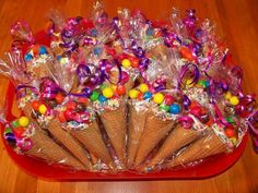 Discover thousands of images about Candy cone party favors. I dipped the rims of sugar cones in white chocolate and sprinkles. Filled them with peanut m & m's and bagged them in cone shaped bags. They were a hit with the kids! Trolls Birthday Party, Troll Party, Birthday Parties, Birthday Ideas, Candy Land Birthday Party Ideas, Candy Themed Party, Candy Party Favors, Ice Cream Party Favors Kids, Edible Party Favors