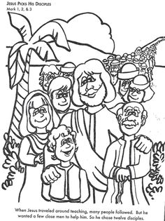 Jesus and His Disciples -- Free Easter Coloring Page. Great ...