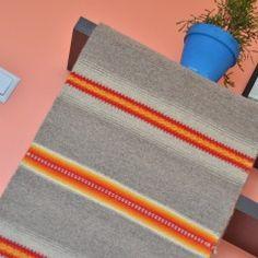 Handwoven wool rug, area rug, floor rug, kilim rug, home decor rug - brown, grey, orange and yellow stripes wool rug