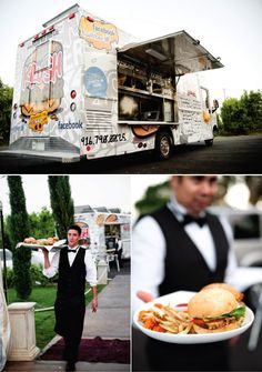 Food truck wedding noms - classed up with china and waitstaff!