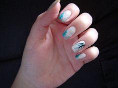 Pretty white nailart with french tips!  #nailart #white #teal #glitter #spring #polish - bellashoot.com