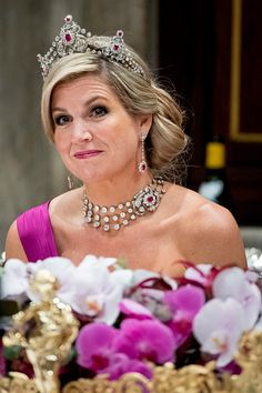 Queen Maxim of The Netherlandsduring the state banquet for the Belgian King and Queen on November 28, 2016 in Amsterdam, Netherlands.