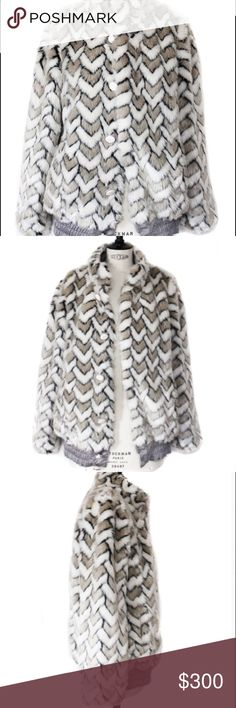 Marc by Marc Jacobs Faux Fur White & Gray Coat SoHo ohhhh yeah. Up your cool factor and stay warm in this Marc by Marc Jacobs funky Faux fur coat with white oversized buttons. Please note in the pic the tag is ripped off on one side but that can be fixed with a stitch (if I knew how :) ) white and gray chevron pattern with black accent. Marc By Marc Jacobs Jackets & Coats