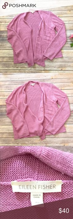 """EILEEN FISHER XS Open Front Cardigan Pink Lovely Pink Linen open front Cardigan by Eileen Fisher 19 armpit to armpit  24 1/2 sleeve  21 1/2"""" length  There are two stitches that are at the front which are white. I think it is how the Sweater was made- there was no color on a small length of the yarn. They are very hard to see and not noticeable when the cardigan is on but I wanted to mention them. Overall excellent used condition  Smoke free home 🏡 Eileen Fisher Sweaters Cardigans"""