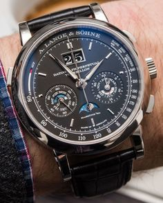 """#SIHH2016: A. Lange & Söhne Datograph Perpetual Tourbillon Watch Hands-On - by Ariel Adams - on aBlogtoWatch.com """"Comfortable on the wrist, this massively complex beauty is still hefty thanks to the platinum material and feels decidedly complex given its range of very difficult to produce complications done as only the German masters at A. Lange & Söhne can accomplish..."""" #SIHHABTW"""