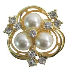 Price :$4.50 Beautiful Flower Crystals & Pearls Sparkling Bridal Brooch & Hair Pin Material : 3 pearls flower brooch Color : Gold/iovry Brooch Length : 1 1/4 inch long & 1 1/4 inch wide
