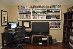 High Shelves keep the floor clear in this gaming room!