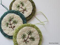 Wool Felt Ornaments, Evergreen Branch, Embroidery, Set of Three, Green
