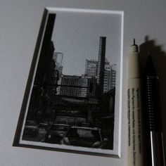 Little cityscapes drawn with micron pens.