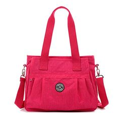 d3b500b33352 Tiny Chou Water Resistant Nylon Tote Handbag Crossbody Messenger Bag with  Detachable Shoulder Strap  Handbags  Amazon.com