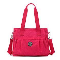 Tiny Chou Water Resistant Nylon Tote Handbag Crossbody Messenger Bag with Detachable Shoulder Strap *** Review more details @