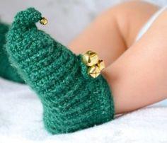 Jolly Elf crochet baby booties! I love the Santa pattern too!