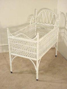 Antique White Wicker Crib