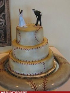 base ball wedding cake - love the toppers