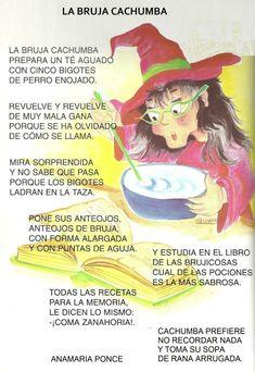 Las brujas son hoy el generador de estos recursos, principalmente para trabajar la lectura. Spanish Classroom, Teaching Spanish, Cherry Baby, Teachers Toolbox, Kids Poems, Halloween Activities, Spanish Lessons, Spanish Language, Nursery Rhymes