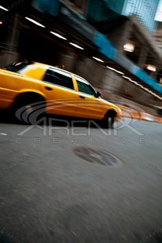 Speeding Yellow City Taxi Cab Stock Photo - Panned Action #streetphotography #stockphoto