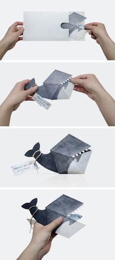 creative whale invitation or birthday card craft
