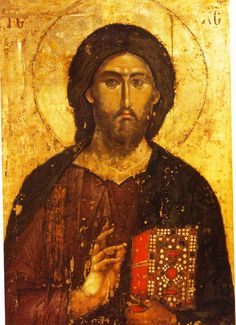 13th century Pantokrator icon at the imperial Serbian monastery Hilandar in the Holy Mountain (link)
