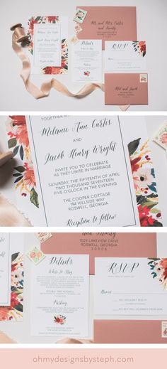 Dusty Rose Floral Wedding Invitations for a boho wedding