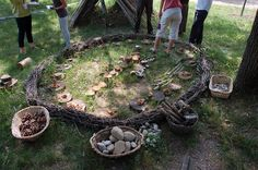 let the children play: reggio-inspired learning environments part 3.  Love the baskets of natural materials for play.  In the rabbit run?