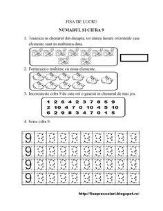 Set de Fise cu cifre punctate de la 1 la 10 - gradinita | Fise de lucru - gradinita