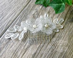 White Beaded Flower Wedding Hair Comb Bridal by LaurenHCreations. Custom orders available!