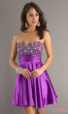 Short Strapless Purple Party Dress by Dave. Cute after wedding dress, maybe in a different color though