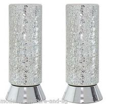 2x mirrored silver table lamps Product Description The mosaic cylinder lamp…