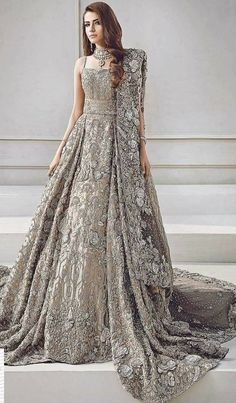 68be935d7bd Beautiful heavy maxi lahnga in brownish silver color Model   W 842 Bridal  Anarkali Suits