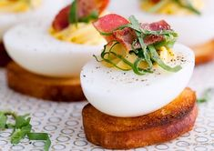 BLT Deviled Eggs A simple yet elegant way to use up your leftover Easter eggs or to make as an appetizer for your next party...everyone loves deviled eggs!