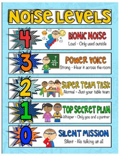 Voice/Noise Level Chart with Superhero Design! So cute! It is also part of my Superhero Bundle. The Voice Level Chart is a quick and easy way to…