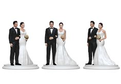 Our wedding cake topper figurines are not bobbled heads or face without having the right proportion to the size. The body and the face are all life-like, matches your skin color, unlike the bobble heads and other figurines where the face is bigger, won't match your skin color and is often made in caricature style. Our figurines look real and exactly matches the person. With our 3d technology and proprietary process, we create figurines that match the person completely. We just need 4…