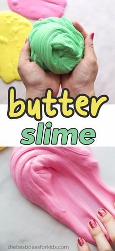 Butter and Fluffy Slime Recipe with Model Magic. This easy butter slime recipe with clay is so fun to make! How to Make Butter Slime step by step instructions. Butter Slime Recipe, Fluffy Slime Recipe, Easy Slime Recipe, Slime Recipe With Cornstarch, Good Slime Recipes, Butter Slime Diy, Craft Activities For Kids, Projects For Kids, Diy For Kids