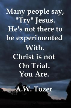 A W Tozer: Christ is not trial you are.