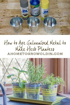 Learn how to age galvanized metal quickly to make these rustic farmhouse herb planters in this easy DIY tutorial!