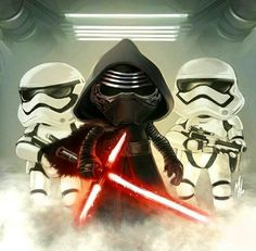 Kylo Ren and Stormtroopers chibi style Star Wars Kylo Ren, Star Wars Jedi, Lego Star Wars, Star Wars Sequel Trilogy, Star Wars Drawings, Episode Iv, Sith Lord, Star Wars Fan Art, The Empire Strikes Back