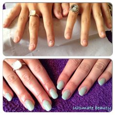 Before and after. NSI Acrylic extensions with mint convertible shellac