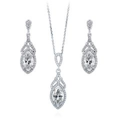 BERRICLE 925 Silver Marquise CZ Art Deco Halo Bridesmaids Necklace... ($87) ❤ liked on Polyvore featuring jewelry, earrings, sets, clear, women's accessories, post earrings, pendant earrings, silver jewellery, cz earrings and cz pendant