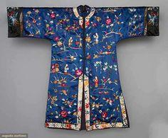 "EMBROIDERED EXPORT JACKET, CHINA, c. 1940 Dark blue silk satin, landscape, flower & figural embroidery, Slv-Slv 50"", Ch 42"", L 40"""