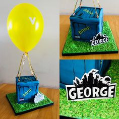 Fortnite Supply Drop Cake with coconut grass effect board, personlised plaque using Fortnite logo and helium balloon. Great for a Fortnite fans birthday cake! 10th Birthday Parties, 12th Birthday, Birthday Party Themes, Birthday Cake, Balloon Birthday, Birthday Board, Birthday Ideas, Fête Jurassic Park, Drop Cake